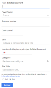 Formulaire d'inscription google my business